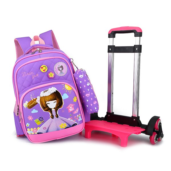 OKKID girls school bags with wheels kids cute purple trolley backpack student kawaii wheeled school bag children pen pencil bag