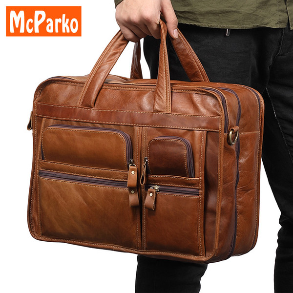 Vintage laptop leather bag men briefcase office bags for men Genuine leather briefcases business man 15.6 inch laptop bag brown