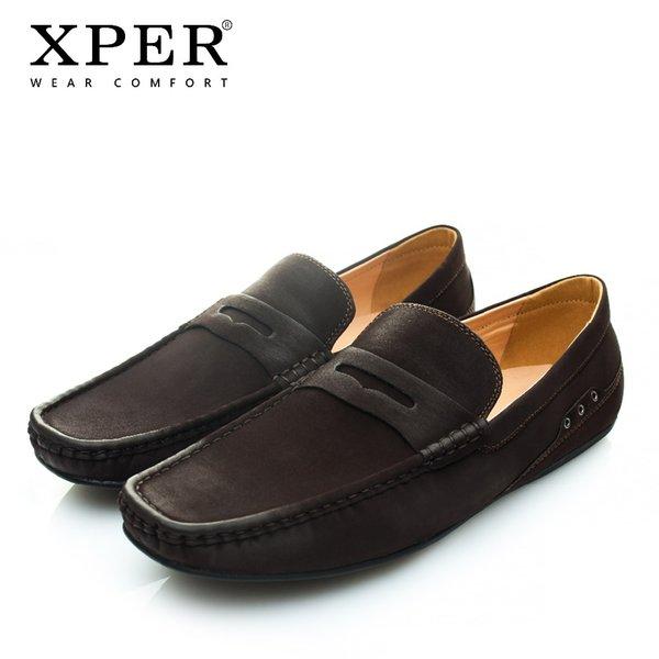 XPER Marca de Moda Macio Couro Flare Sapatos Flats dos homens Respirável-on Mocassins Homens Mocassins Preto Tamanho Grande CE86811BL