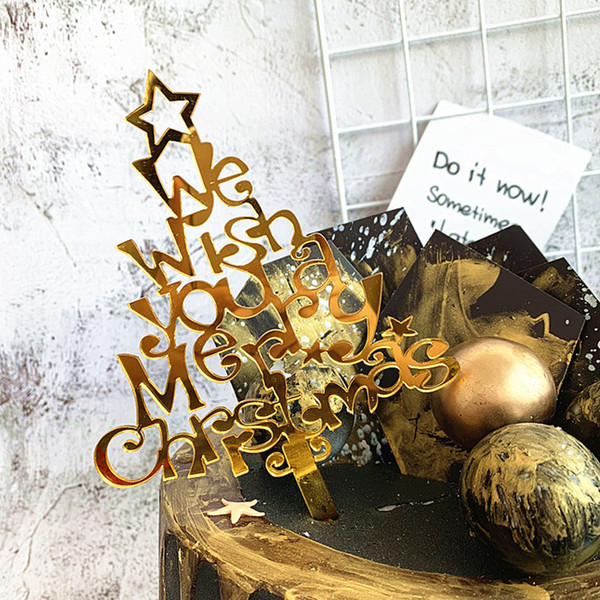 Glitter Gold Merry Christmas Happy New Year Cake Topper Acrylic Christmas Tree Cupcakes Picks Decorations