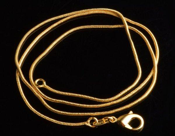Nouvelle vente plaqué or 18k 1mm 16-30''snake chaîne de luxe bijoux femmes / hommes pendentif chaîne collier