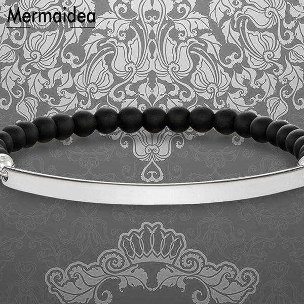 Pulsera con cuentas ID con cuentas de obsidiana 2019 Nuevo 925 Joyería de moda de plata esterlina Trendy Pulseiras regalo para mujeres niñas