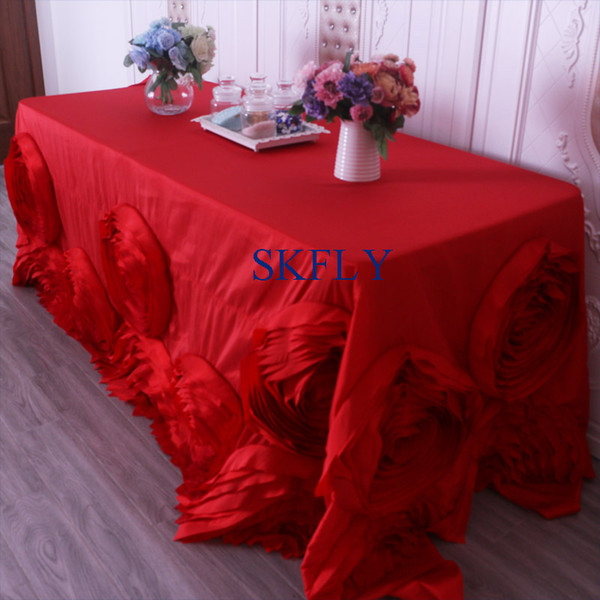 Cl052p Gorgeous Wedding Hand Made 6ft Or 8ft Rectangle Red Rosette Table Cloth With Rose Flower Tablecloth Sizes Linen Napkins From Wudee 98 21