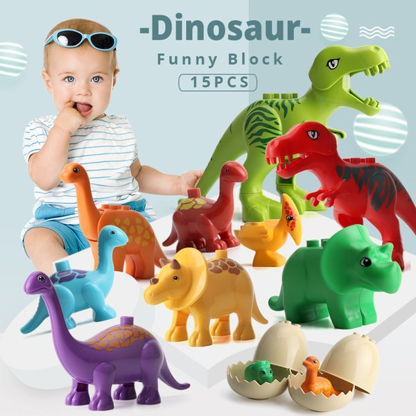 Umeile 15/39/65/100 Pcs Jurassic Dinosaur World Large Building Blocks Toys Animal Set Brick Compatible With Duplo Gift Q190530