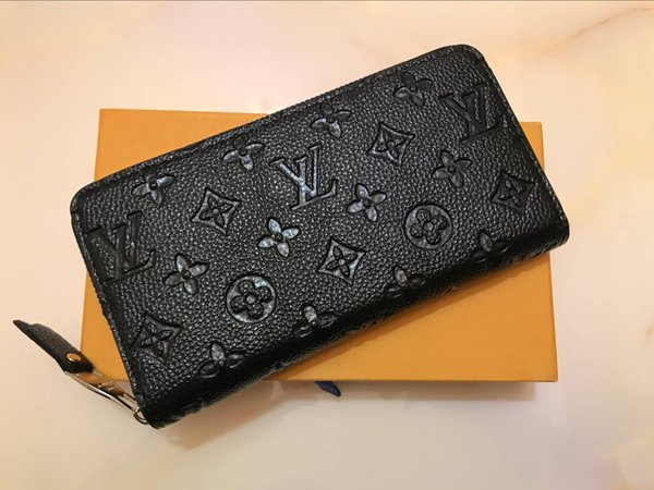 new Fashion brand with logo Long wallet high quality Embossing leather zipper wallet suit clip coin purse packge Clutch Credit card holder