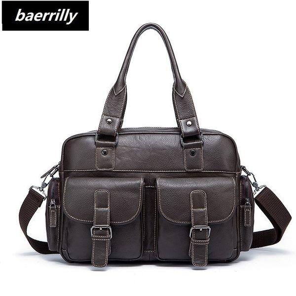 Genuine Leather Men Briefcase Business Bags Male Office Work Laptop Bags Men Travel Bag attache brief case portfolio man lawyer #563789