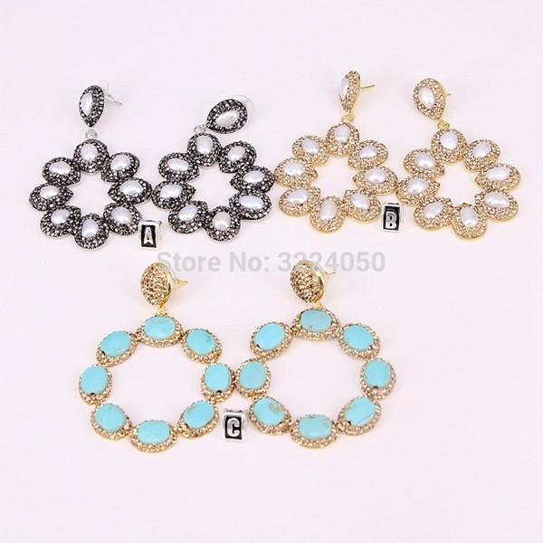 3 Paare E291-9806 Große Blume Ohrringe Pflastern Kristall Natur Perle / Blau Stein Tropfen Baumeln Ohrringe Schmuck Edelsteine Jewelr Dame Geschenk J190719