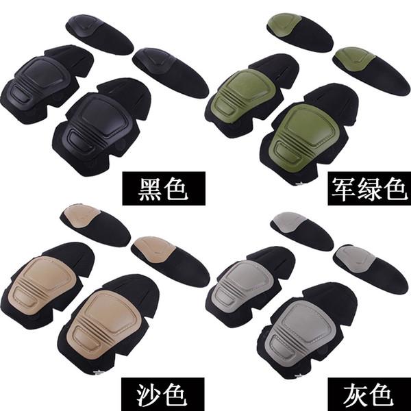 Tactics Sport Elbow Impact Force Anti Slip Super Durable Kneepad Four Piece Suit Black Khaki Army Green Protective Gear 20 5dsD1