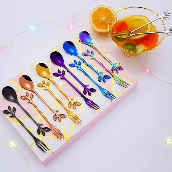 Leaf Branch Coffee stir Spoons Colorful Stainless steel Fruit fork Moon cake forks Exquisite Gift cutlery