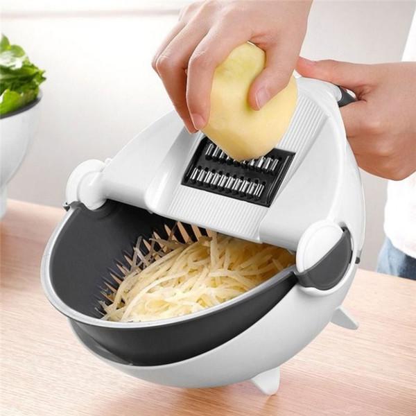 1 pc Magia Rodar Cortador de Vegetais com Cesta de Drenagem Multi-funcional Cozinha Vegetal Vegetal Shredder Ralador Slicer