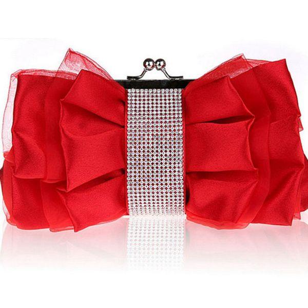 good quality Fashion Bow Shape Rhinestone Women Evening Clutch Bags Bridal Flower Female Handbags Chain Wedding Party Hand Bag