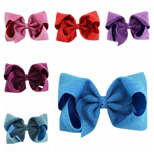 best selling Glitter Big Bowknot Hairpin Kids Shiny Cloth Bow Hairpins Fashion Hairclips Sparkle Barrettes Hairbands Children Hair Clips TTA762