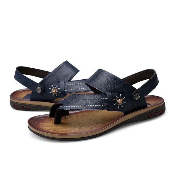 Mens Flip Flops Plus Size 47 Brand Summer Comfortable Genuine Leather Sandals Men Casual Shoes Beach Shoes Native Male Sandals