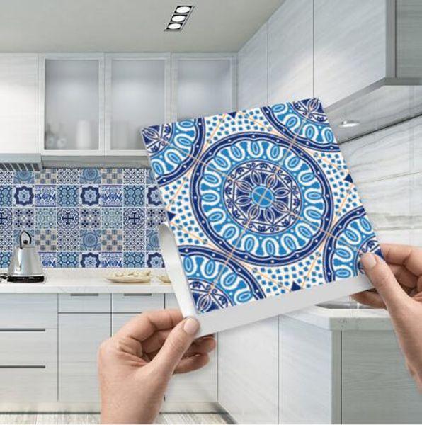Großhandel Mosaik Fliesen Aufkleber Selbstklebend Blau Und Weiß Porzellan  Wandkunst Wasserdicht Fliesen Aufkleber Küche Badezimmer Möbel Dekoration  ...