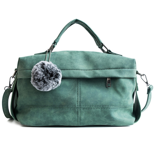 female casual handbag female large shoulder messenger bag matte suede leather handbag with hair ball green