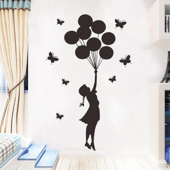 Butterfly balloon girl generation carved wall stickers living room bedroom children room background decoration creative wall stickers creati