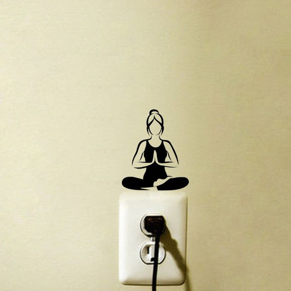 Fashion Yoga Meditation Vinyl Wall Decals Light Switch Stickers