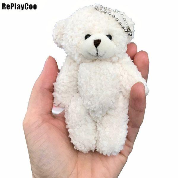 50pcs/lot Mini Joint Teddy Bear Plush Toys Chain White Gummy Bears 12cm Animal For Wedding Peluches Bicho Ursinho De Pelucia Q190521