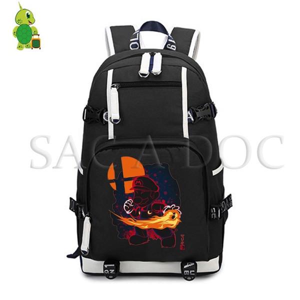 Super Mario Bros Fluorescence Backpack Women Men Large Laptop Backpack School Bags for Teenagers Girls Boys Travel Rucksack
