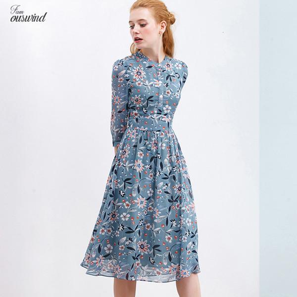 Осень печати платье шифоновое для женщин Подставка Кнопка Стиль Casual Open Сундук Колено платье Сладкий Vestidos
