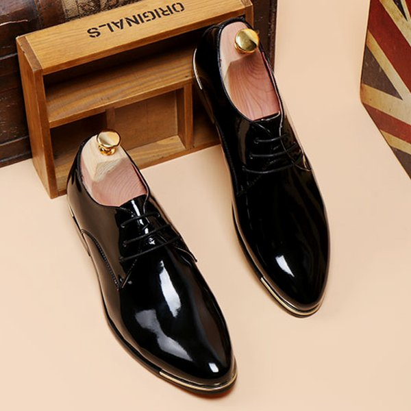 Fairy2019 Sharp Down Keep Warm Pearlite Layer Man Hairstyle Division Increase Patent Shoe Groomsman Leather Shoes