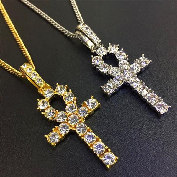 Марка Hiphop кубинский Циркон ожерелья для мужчин 18K позолоченный Цепи Сияющие CZ Египетский Анкх Key Charm Hip Hop Ювелирные изделия