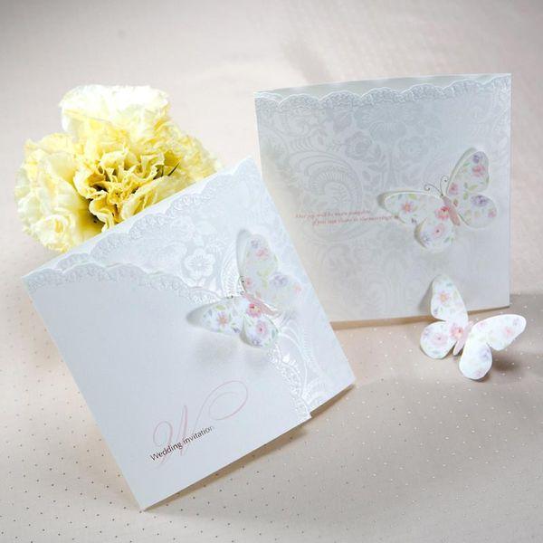 Toptan-Sıcak! Zarflar Ve Seals ile 50pcs / lot Klasik Beyaz Renkli Kelebek Üç Katlı Düğün Davetiyeleri Kartları