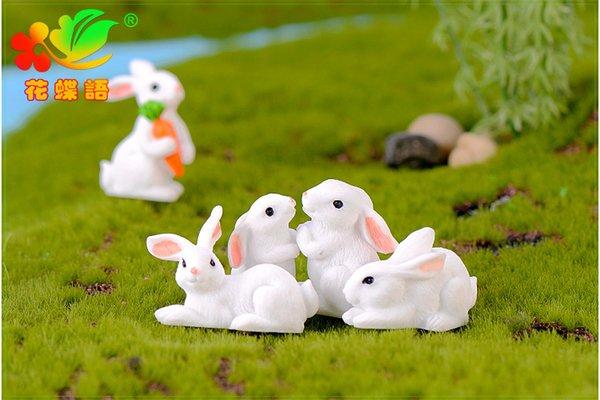 8 pçs / set impertinente coelho em miniatura vasos de plantas bonsai artesanato auto-adesivo decorações pai-filho diy decoração para micro-paisagem do zodíaco coelho