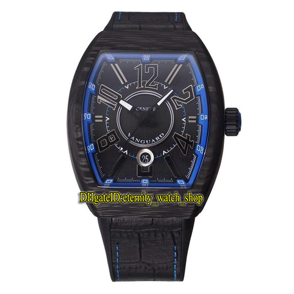 4 Color High Quality VANGUARD Luminous Carbon material Case Blue Date Dial Japan Miyota Automatic Mens Watch Leather Rubber Strap Watches