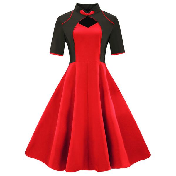 Plus Size 3xl 4xl Women Clothing Vintage Dress 2018 Restore Ancient Summer Mandarin Collar Patchwork Black Red Hepburn Dresses J190511