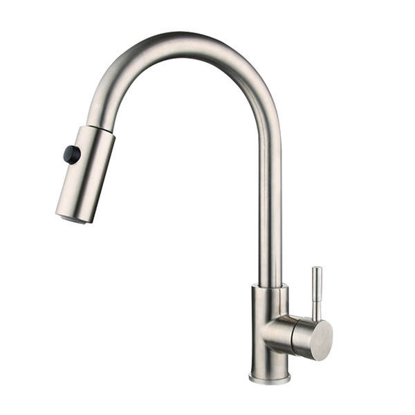 Stainless Steel Kitchen Faucet Single Handle Single Hole Round Tub Pull Cold Hot Water Kitchen Pull Faucet (Silver)