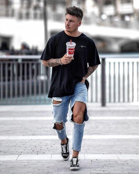 Jeans biker para hombre High Street Slim Fit Jeans rasgados Hombre Denim desgastado Skinny Washed Big Hole Zipper Jeans