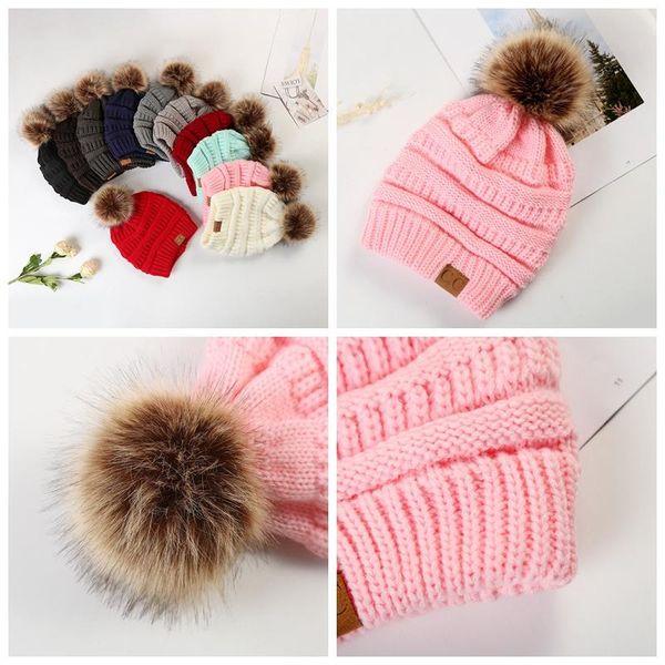 Large Ball Winter Wool Warm Women Knitted CC Hat Fur Pom Poms Crochet Beanie Ski Cap Bobble Fleece Cable Slouchy Skull Caps 12 Colors 5pcs E
