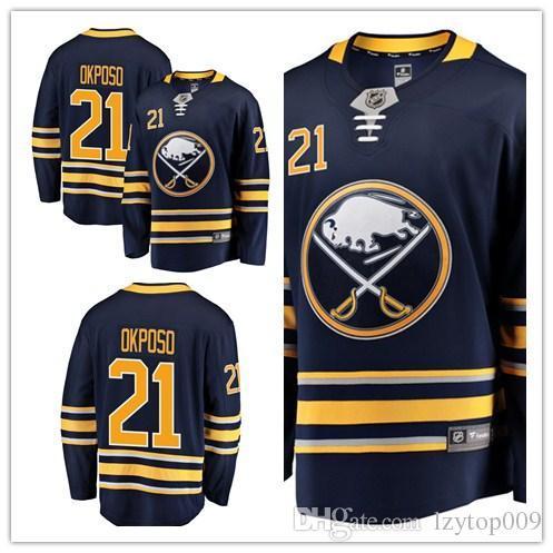 65f854e3d41 custom 2019 Men's Buffalo Sabres 21 Kyle Okposo Fanatics Branded Navy  Breakaway Player women kids Jersey