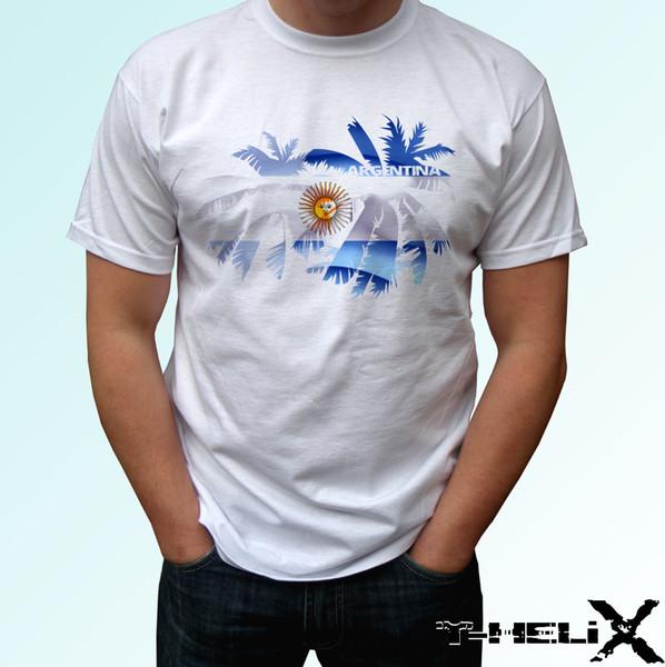 rgentina PALM Flag - T-shirt blanc top T-shirt de sport en coton ouaté, pantalon pour ventilateur