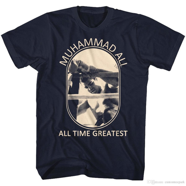 Muhammad Ali Boxing T-Shirt Mens New Sizes SM-5XL in 100% Navy Cotton PERFECT