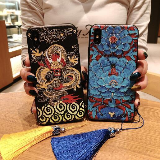 Luxuxdesigner-Telefonkasten für IphoneXSMAX IphoneXR XS 7plus / 8Plus 7/8 6plus / 6sP 6 / 6s New Fashion Chinoiserie Phone Case