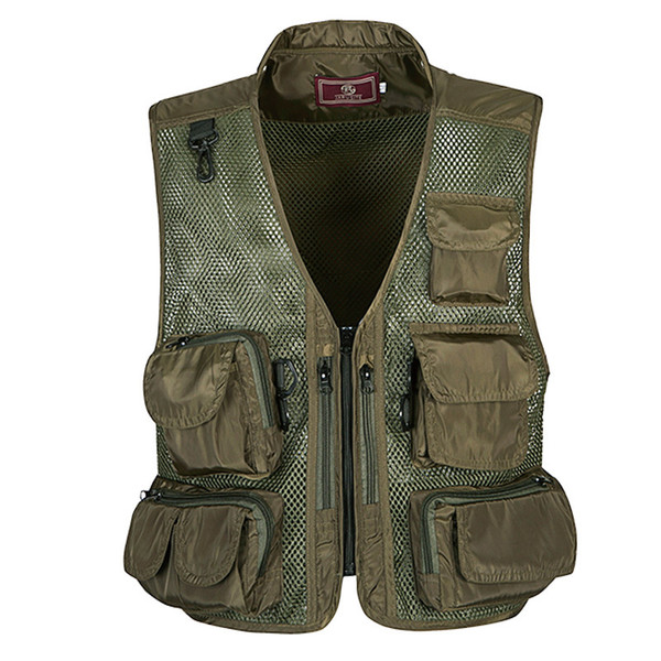 Summer Tactical Vest Coat Fashion V Neck Men's Summer Photographer Waistcoat Mesh Work Sleeveless Jackets Tool Pockets Vest Male