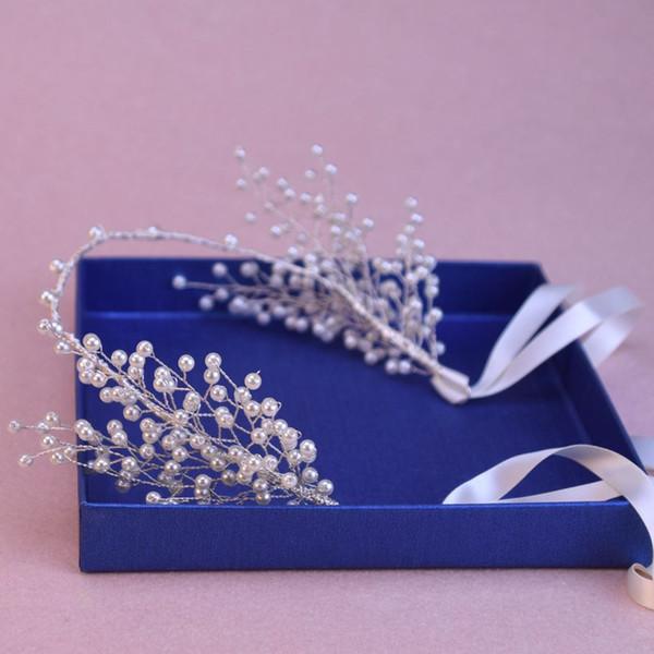 38cm Long Bridal Wedding Bride Pearl Ribbon Tiaras Headpiece Hair Accessories Headbands Party Prom Birthday Gift Handmade Jewelry Silver