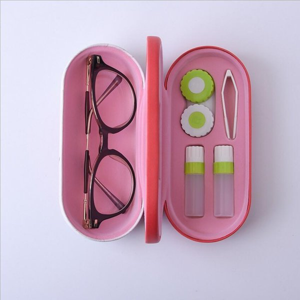 New Style Reading Glasses Double Interlayer With Mirror Metal Contact Lens Case For Kit Box Dual-use N9 C19041201