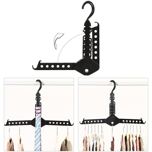 Multifunctional Magic Clothes Rack Travel Hangers, Portable Folding Clothes Hangers Clothes Drying Rack Hanger Rack Space Saver - Black