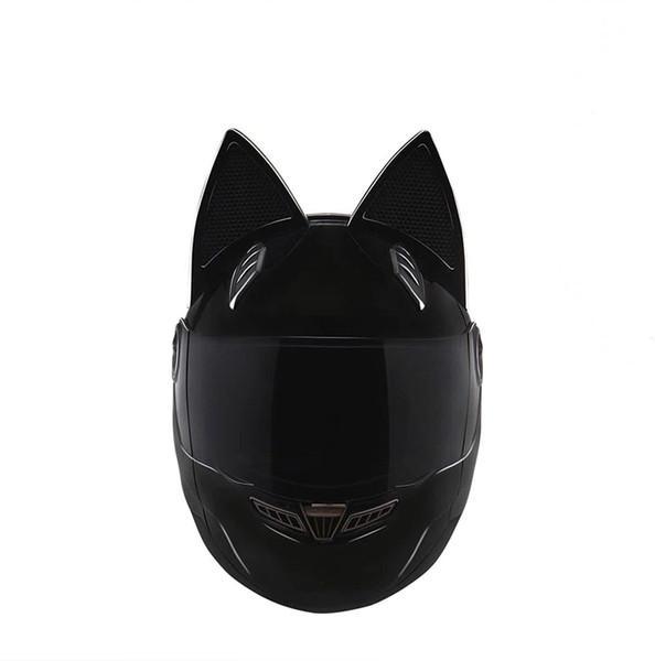 NTS-003 NITRINOS Marca casco de moto cara completa con orejas de gato Personalidad Casco de gato Moda Moto Casco talla M / L / XL / XXL