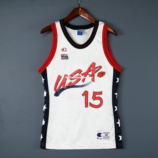 100% Cousu # 15 Hakeem Olajuwon Champion Blanc Jersey Olympiques USA Maillot Pour Hommes Taille XS-6XL Maillots De Basketball Surpiqués Ncaa