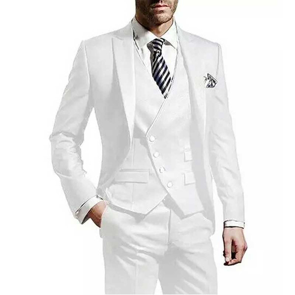 Formal Men White Suits for Wedding Groom Tuxedos Man Blazers 3Piece Coat Pants Vest Terno Masculino Custom Made Costume Homme Mariage