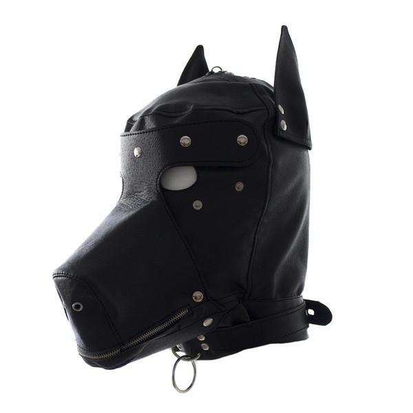 Sexy Bdsm Bondage Hook Fetish Lace-up Mouth Dog Mask Juguetes Sexuales Para Mujer Parejas Restricciones Juegos para Adultos PU Máscara de Capucha de Cuero