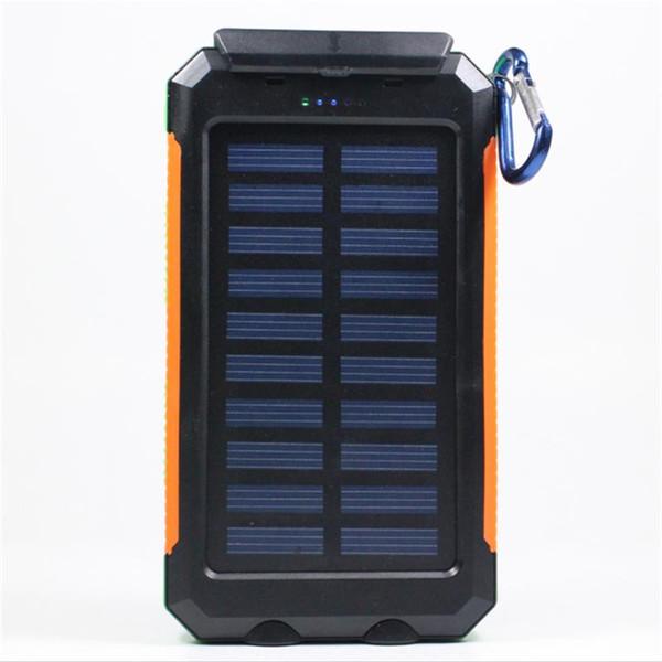 Солнечное зарядное устройство Водонепроницаемый аккумулятор 20000mAh Внешний портативный аккумулятор солнечной энергии и плагин для смартфона со светодиодной подсветкой