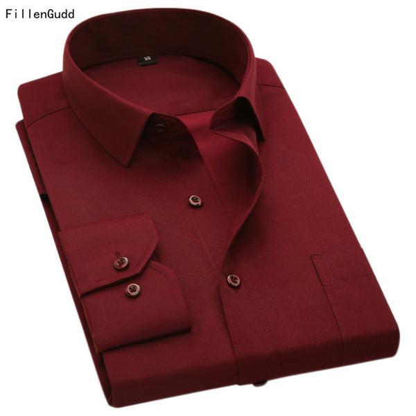 Fillengudd Plus Size 8xl manica lunga vestito solido Large 7xl 6xl bianco magliette sociali economici Cina importato abbigliamento uomo Q190514