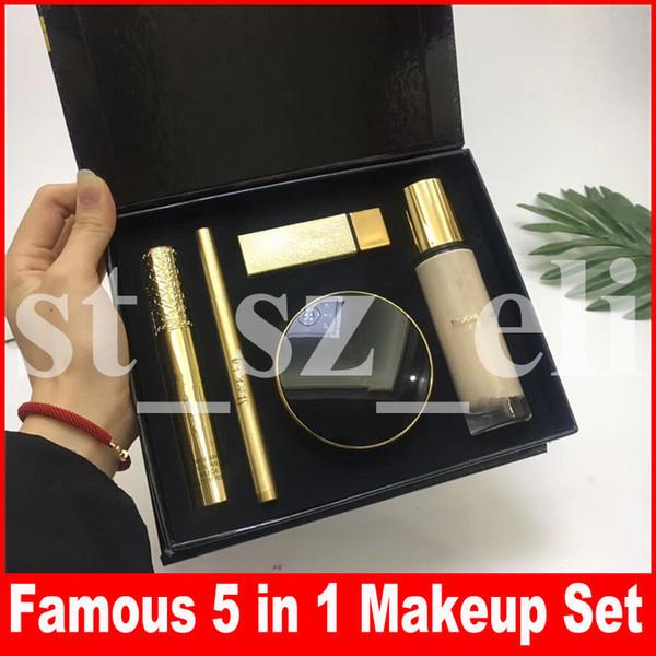 Famosa Rosto Maquiagem Set 5 em 1 Mascara Delineador Delineador de Olhos Matte Batom Almofada de Ar Líquido Fundação Cosméticos Make Up set
