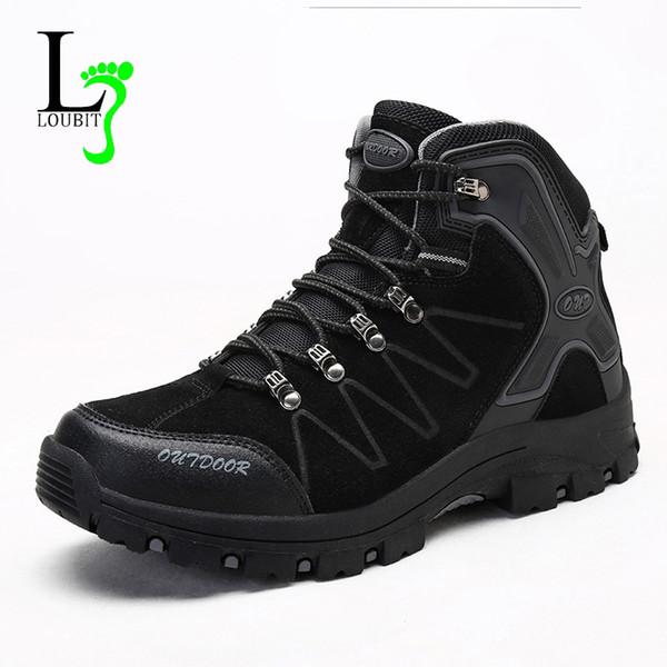 Botas de alta Qualidade Homens Sapatos Ao Ar Livre Sapatilhas Rendas Até Camurça Sapatos de Trabalho Não-deslizamento Boties Mens Ankle Boots De Borracha Conforto Sneakers