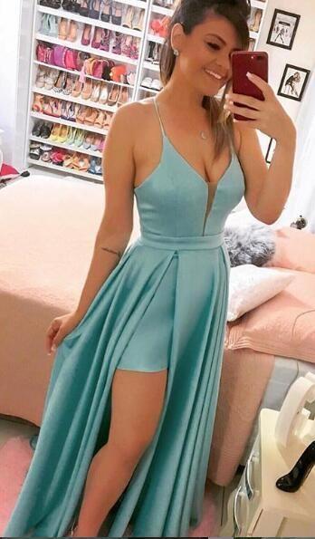 Verde claro barato cetim vestidos de baile uma linha dividida frente decote em v alta baixa longo vestidos de festa à noite